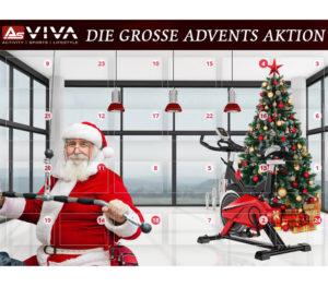 Bild mit einem Weihnachtsbaum und einem WWeihnachtsmann an einem Trainingsgerät