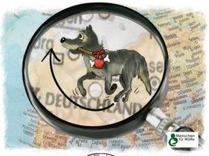 gezeichneter Wolf auf Wanderschaft